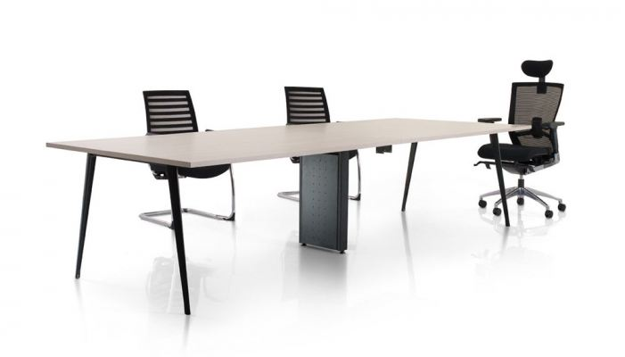 Rectangular conference table with nitra leg n riser box