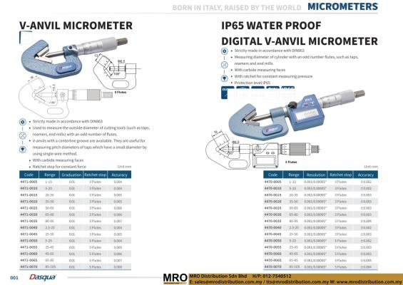 V-Anvil Micrometer & IP65 Water Proof Digital V-Anvil Micrometer