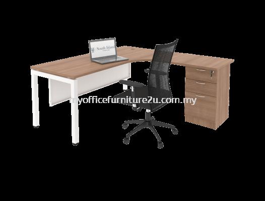 UL2D1F1518 U Leg with L Shape Table and Fixed Pedestal 1500/750L x 1800/600W x 750H mm (Cappuccino)