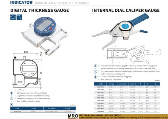 Digital Thickness Gauge & Internal Dial Caliper Gauge