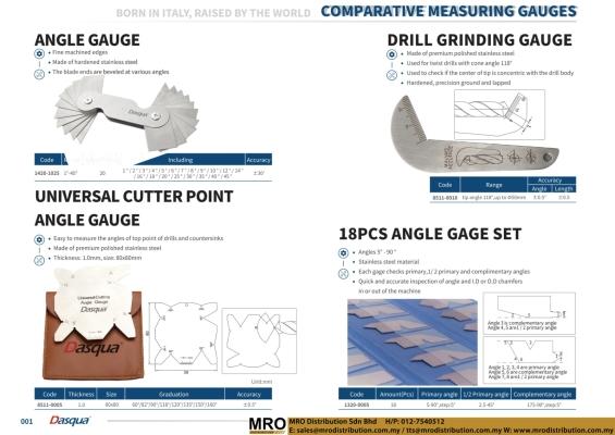 Angle Gauge & Universal Cutter Point Angle Gauge & Drill Grinding Gauge & 18 Pcs Gage Set