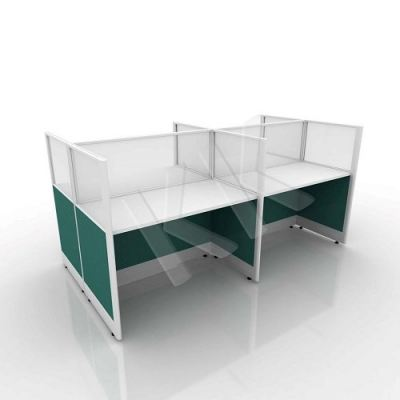 4 Seater Fabric Partition Office Workstation Concept 5