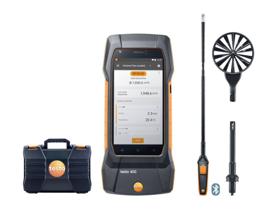 TESTO 400 Air Flow kit with 16mm vane probe (0563 0400 72)