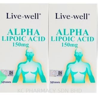 Live-well Alpha Lipoic Acid 150mg 50 Tablets x 2 bottles