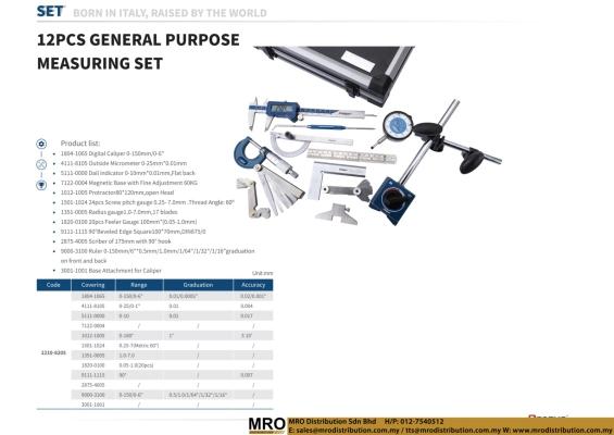 12 Pcs General Purpose Measuring Set