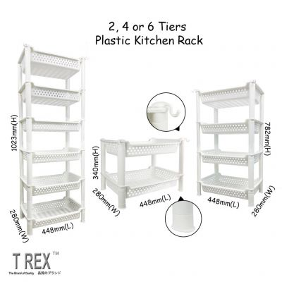 T Rex 2, 4 or 6 Tiers Plastic Kitchen Rack With Hook