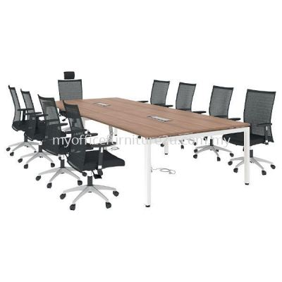 URC3000 U Leg with Rectangular Meeting Table 3000W x 1200D x 750H mm (Cappuccino)