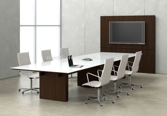 CRC2100 Chipboard Leg with Rectangular Meeting Table 2100W x 1050D x 750H mm (White)