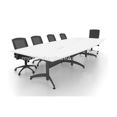TBC2400 Taxus Leg with Boat Meeting Table 2400W x 1200/900D x 750H mm (White)