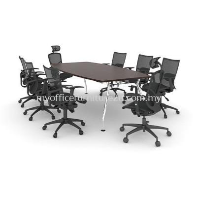 ABC2100  A Leg with Boat Meeting Table 2100W x 1050/750D x 750H mm (Walnut-Solid Leg)