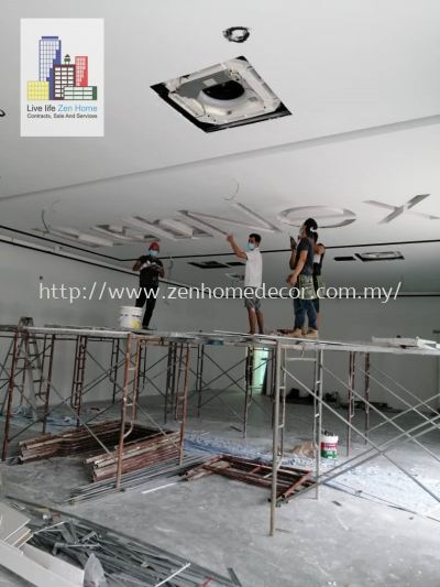 Plaster Ceiling With Company Name