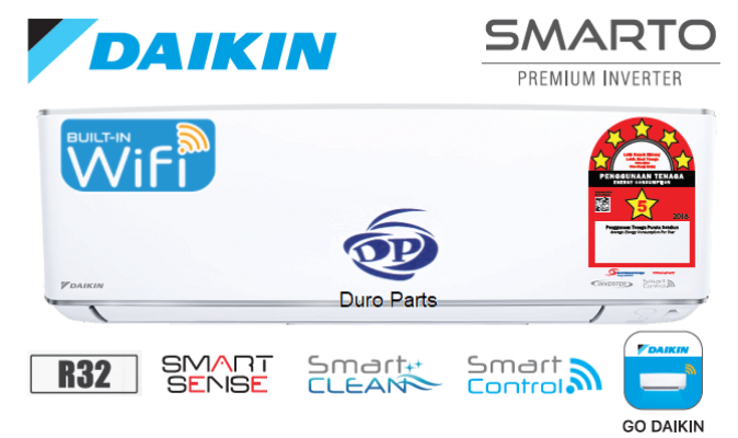 (Smart Control) Daikin 2.0HP SMARTO Premium Inverter Air Conditioner R32 FTKH50A