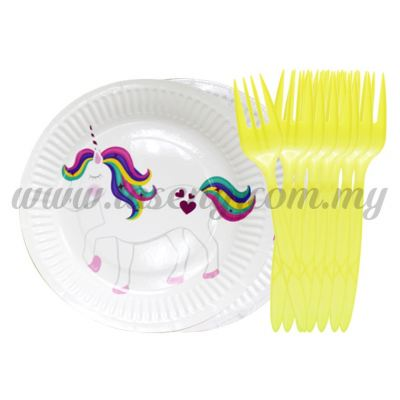 """7"""" Round Paper Plate with Fork 10pcs (P-7RPF)"""