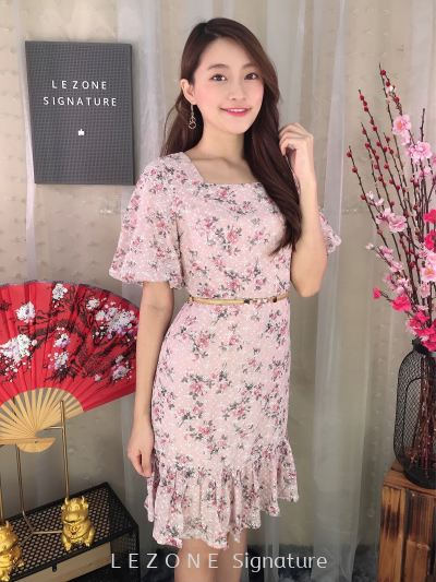 2101 Floral Puff Sleeved Dress