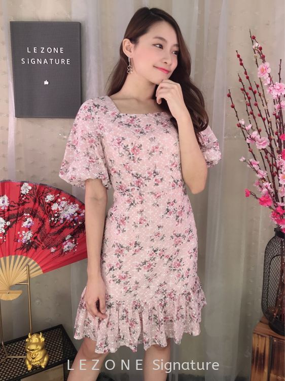 2101 Plus Size Floral puff Sleeved Dress