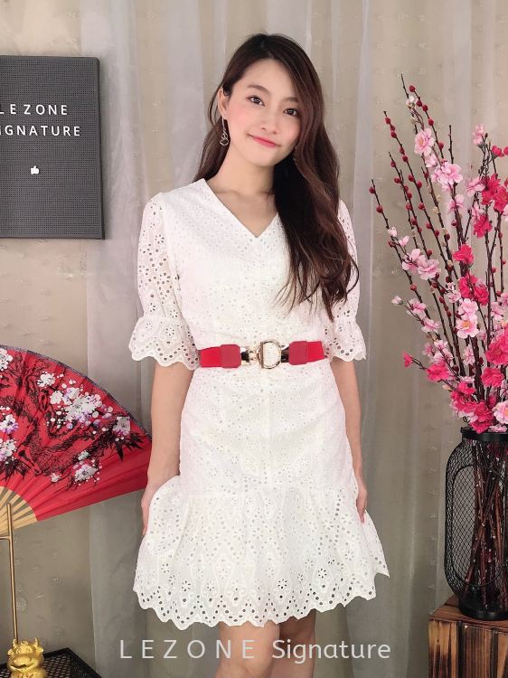 831631 Laced Details Ruffle Sleeved Dress