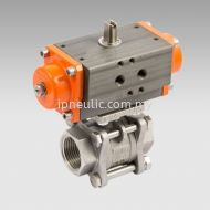 2-WAYS 3 PIECES ACTUATED BALL VALVES SERIES RV-FLUID SINGLE-ACTING