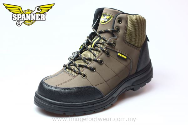SPANNER High Cut Lace up Men Safety Shoes S96-S62- COFFEE Colour