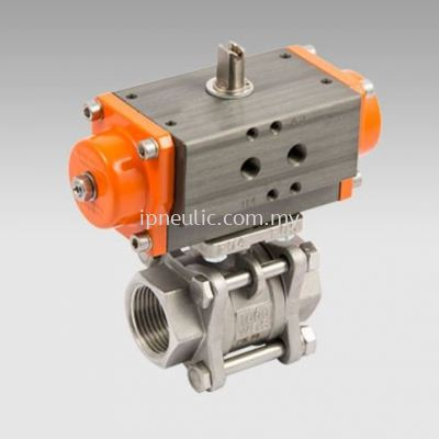 2-WAYS 3 PIECES ACTUATED BALL VALVES SERIES RV-FLUID DOUBLE-ACTING