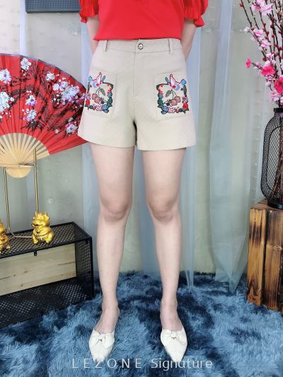 61667 Embroided Front Pocket Short Pant