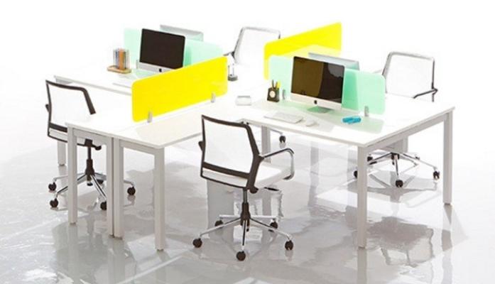 4 cluster L shape workstation with vanda concept