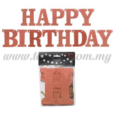 Banner Happy Birthday (Glitter) - Rose Gold (P-BN-XH8288-1-RG)