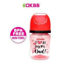 B-117 OKBB 4OZ WIDE NECK FEEDING BOTTLE I LOVE U MOM DAD