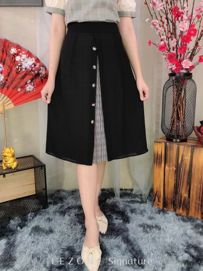 79825 Button Down Pleated Skirt