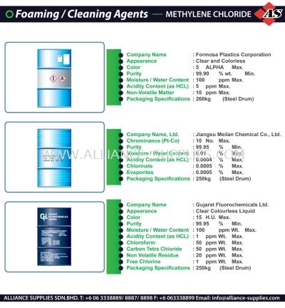 Foaming & Cleaning Agents - Methylene Chloride