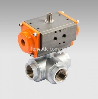 3-WAYS BRASS ACTUATED BALL VALVES-- T VERSION SINGLE ACTING