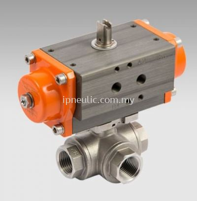 3-WAYS SST ACTUATED BALL VALVES-- L VERSION SINGLE ACTING