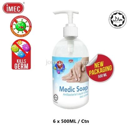 Anti-Bacterial Liquid Hand Soap, IMEC 525MS Medic Soap, Halal, 6 x 500ML
