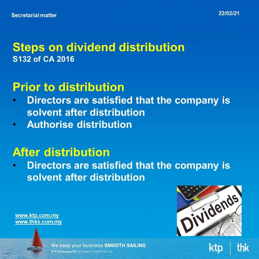 Dividend distribution : Steps