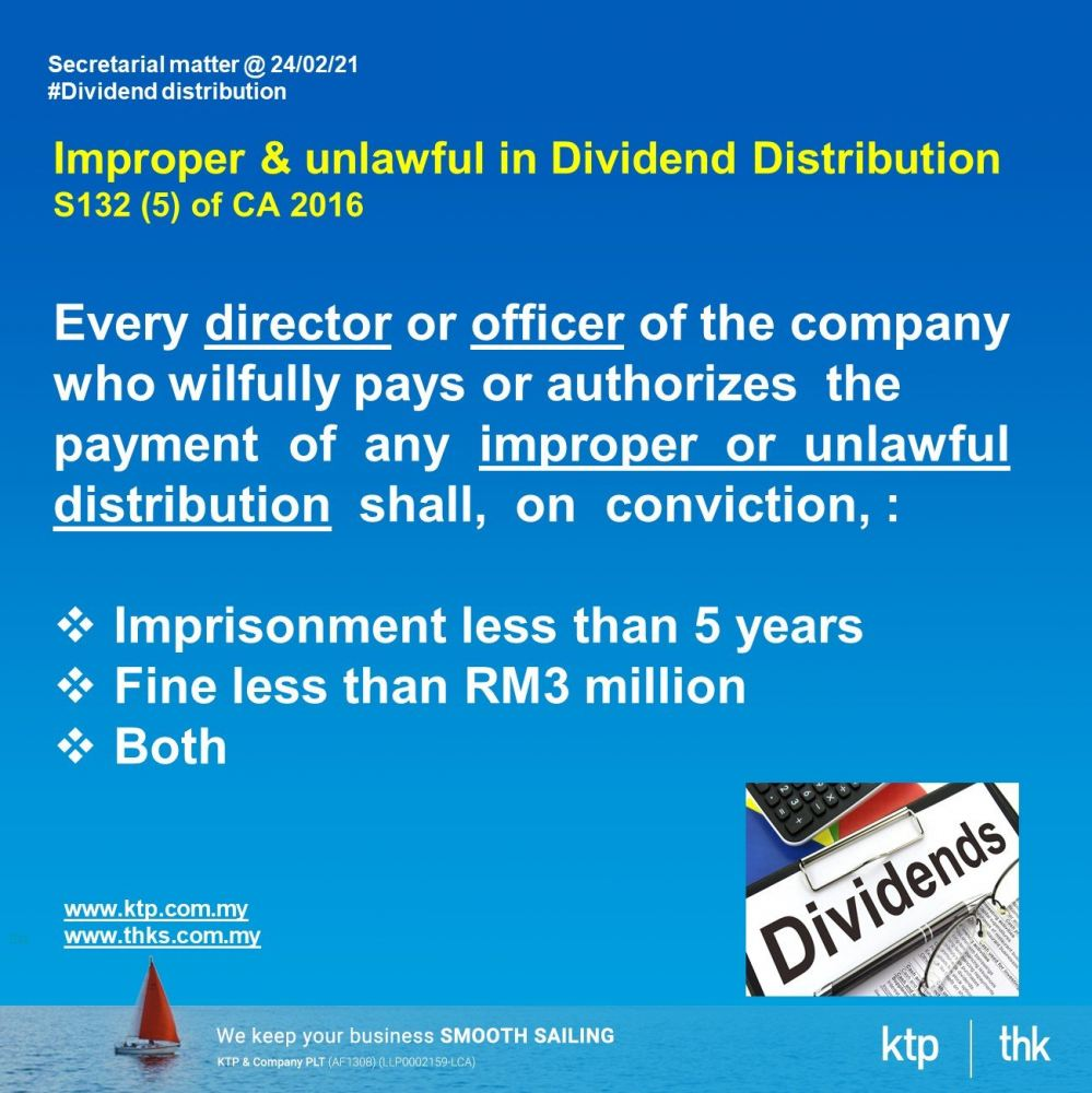 Impropoer & unlawful in dividend distribution