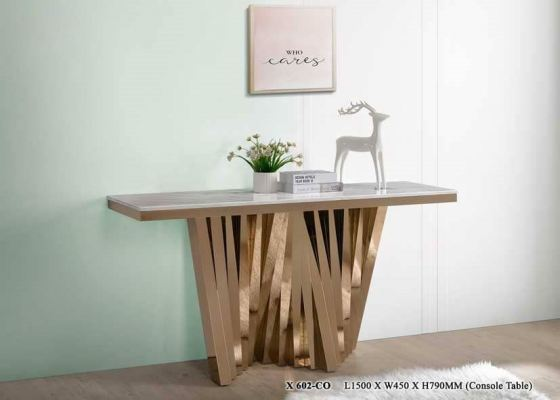 Modern Designer Console Table Gold Stainless Steel Leg and sintered Stone