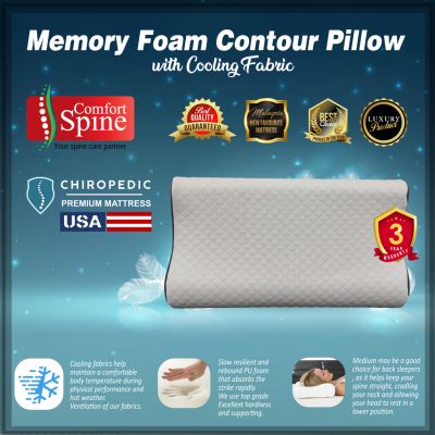 Memory Foam Contour Pillow with Cooling Fabric & Neck Support comfortable for neck pain