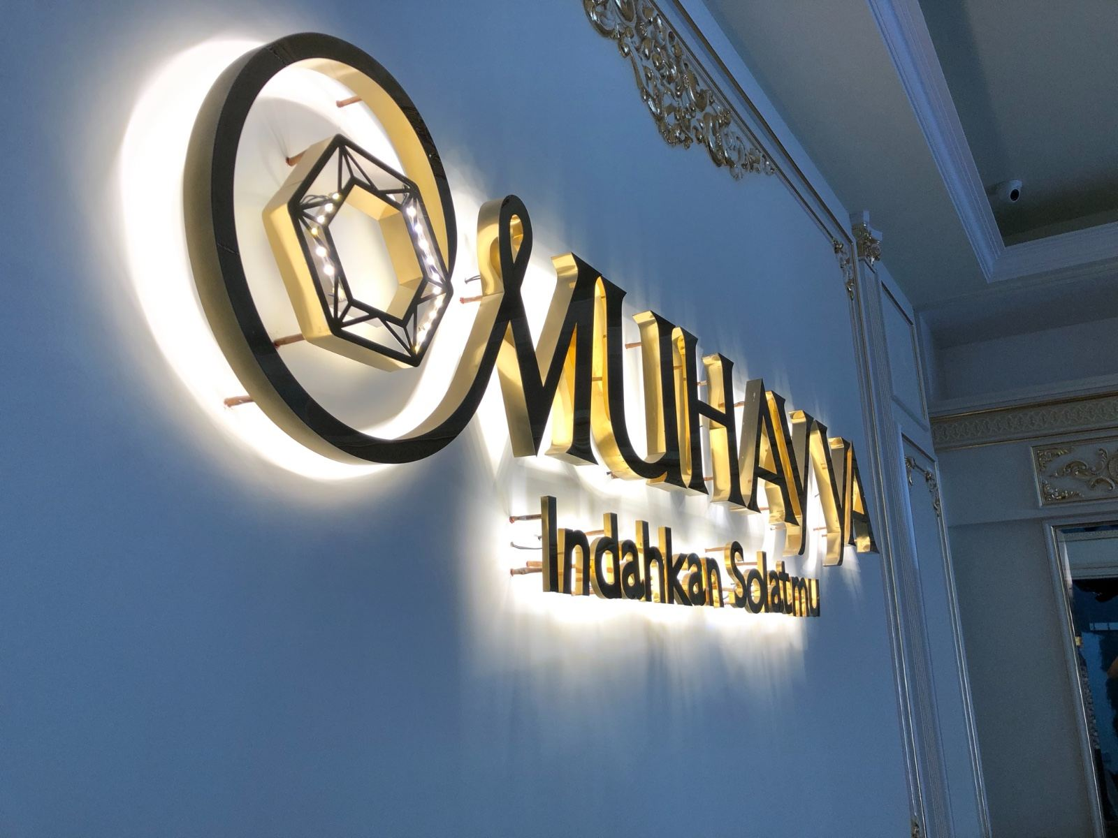 3d Stainless Steel Gold Mirror Led Backlit Effect (Muhayya Signboard) at Kajang