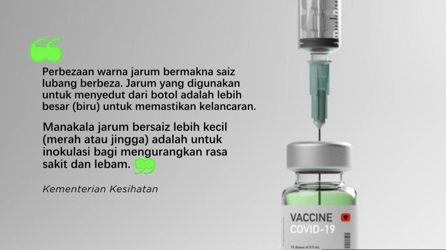 Different needles serve different needs, even in vaccination - MOH