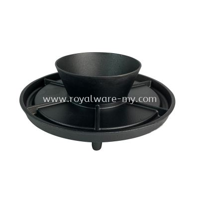 2 IN 1 Cast Iron BBQ Grill Plate & Bowl