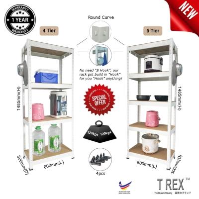T Rex Multipurpose 4 Tier or 5 Tier Boltless Storage Rack Store Room Shelve (White)