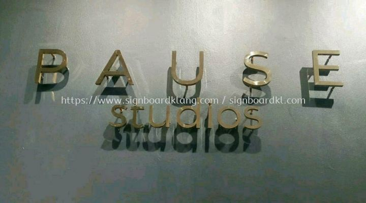 Pause studio stainless steel Gold 3D lettering signage at setia alam