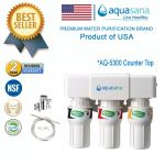 (COUNTER TOP) AQUASANA AQ-5300 Water Filter Water Purifier Filter - (4 NSF Approved, 2 Years Housing Warranty)