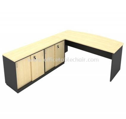 6FT WOODEN BASE EXECUTIVE CURVE OFFICE TABLE WITH TWINS SLIDING DOOR LOW CABINET
