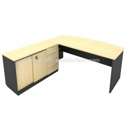6FT WOODEN BASE EXECUTIVE CURVE TABLE WITH SLIDING DOOR + FIXED PEDESTAL 4D