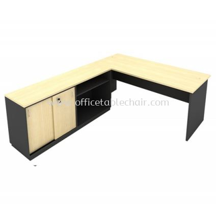 6FT WOODEN BASE EXECUTIVE TABLE WITH SLIDING DOOR + OPEN SHELF LOW CABINET