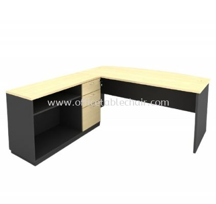 6FT WOODEN BASE EXECUTIVE CURVE TABLE WITH OPEN SHELF + FIXED PEDESTAL 2D1F LOW CABINET