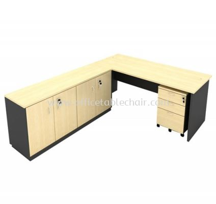 6FT WOODEN BASE EXECUTIVE TABLE WITH TWINS SWINGING DOOR LOW CABINET & MOBILE PEDESTAL 2D1F