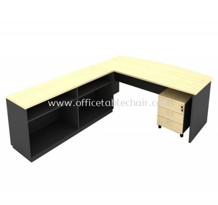 6FT WOODEN BASE EXECUTIVE CURVE OFFICE TABLE WITH TWINS OPEN SHELF LOW CABINET & MOBILE PEDESTAL 3D