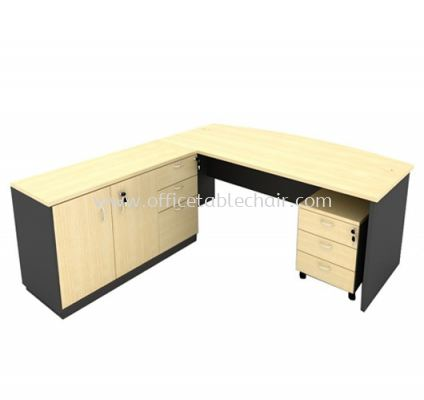 6FT WOODEN BASE EXECUTIVE CURVE TABLE WITH SWINGING DOOR + FIXED PEDESTAL 2D1F & MOBILE PEDESTAL 3D