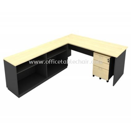 6FT WOODEN BASE EXECUTIVE OFFICE TABLE WITH TWINS OPEN SHELF LOW CABINET + MOBILE PEDESTAL 2D1F